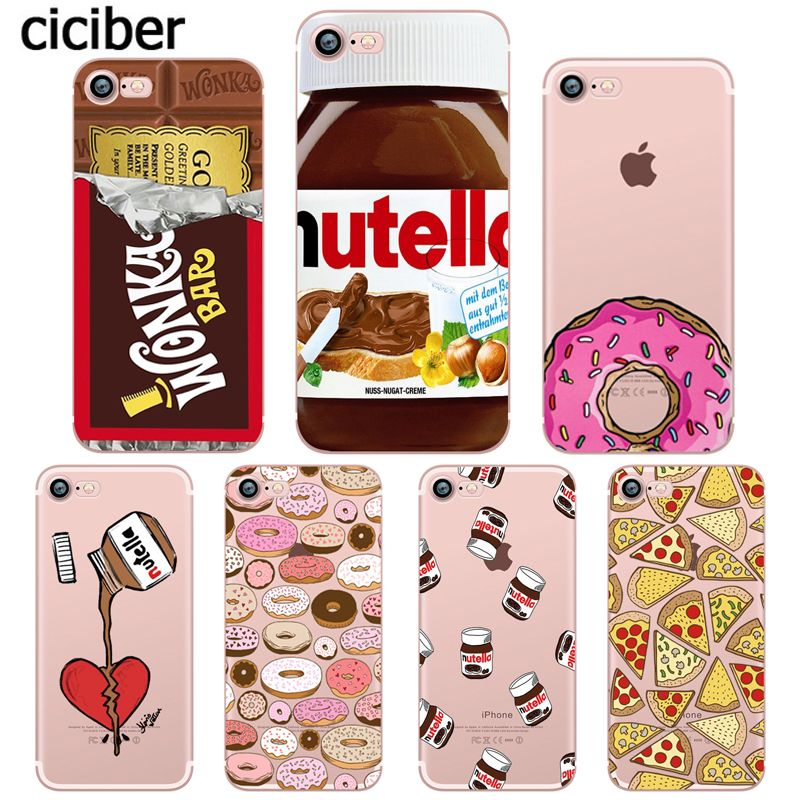 cartoon chocolate food donuts ice cream for apple iphone x 8 7 6s 6 plus 10 5s 5 se soft silicone mobile phone case capinha capa in fitted cases from