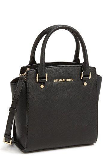 83ebe67db45 $278, Black Leather Crossbody Bag: MICHAEL Michael Kors Michl Michl Kors  Selma Leather Crossbody