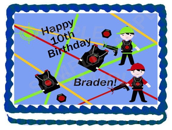 boy laser tag cake topper by topacake on etsy 9 99 kids birthday rh pinterest com Laser Cakes Laser Tag Thank You Goodie Bags