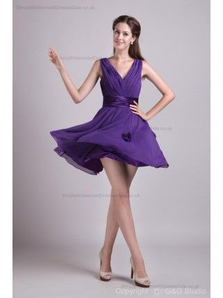 Natural Sleeveless Zipper Chiffon/Elastic-Woven-Satin A-line Mini V-neck Grape Flowers/Ruched/Draped Bridesmaid Dress