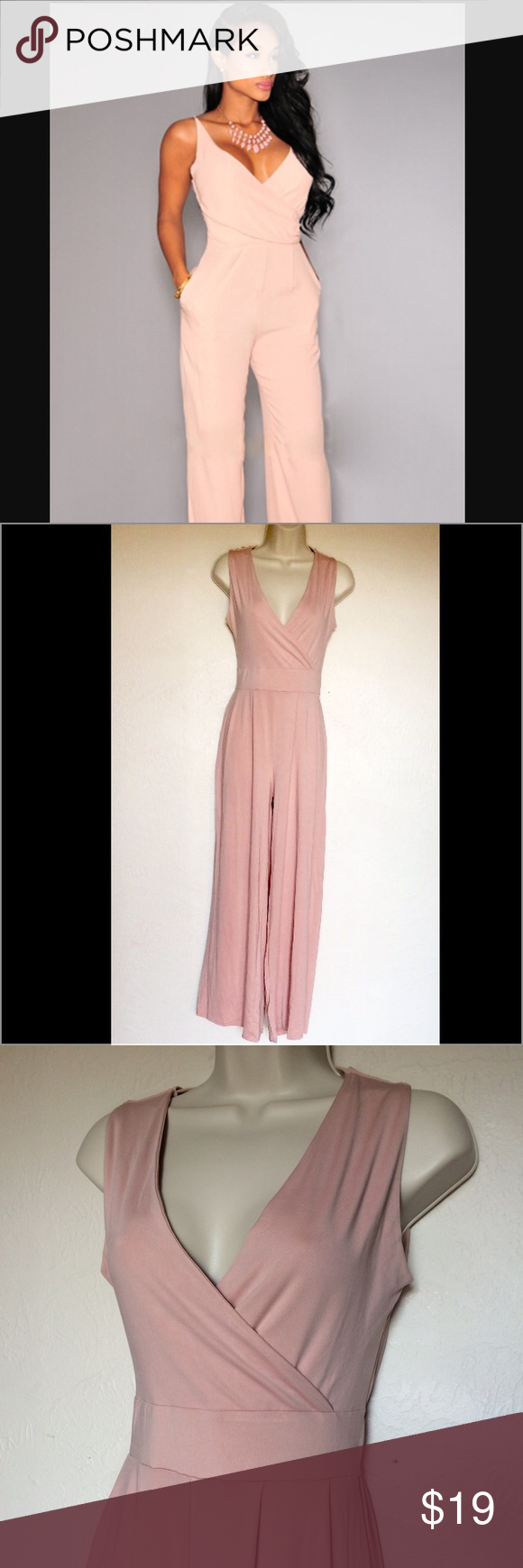 Blush pink jumpsuit The back has a black mesh lace panel with tiny hearts and draped pink fabric. NWT never worn! Cover picture for reference. NOT FOREVER 21 Forever 21 Pants Jumpsuits & Rompers