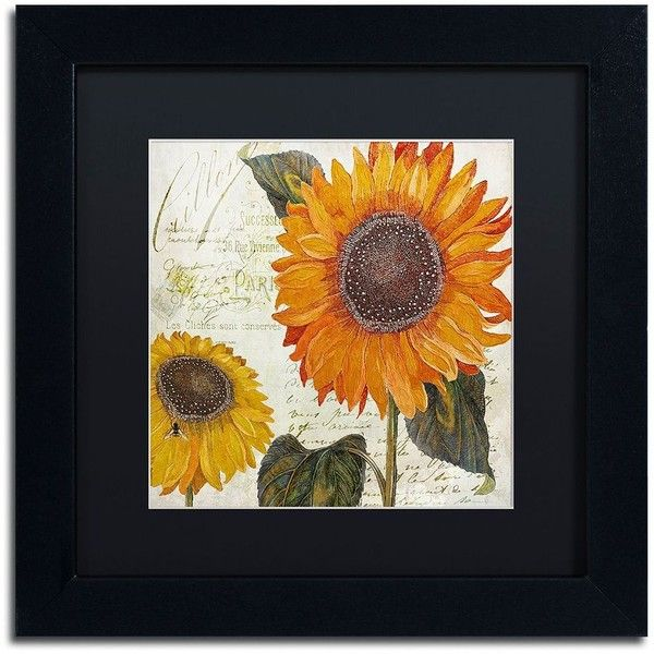 Trademark Fine Art Sundresses II Black Framed Wall Art ($90) ❤ liked on Polyvore featuring home, home decor, wall art, black, sunflower wall art, black framed wall art, black home decor, sunflower home decor and framed wall art