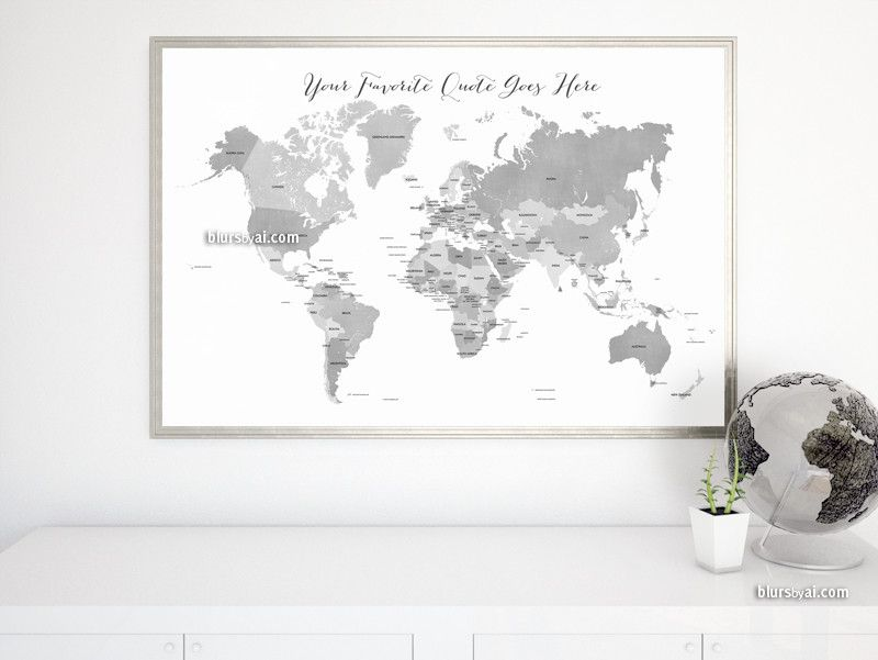 Custom quote printable gray world map with countries in distressed custom quote printable gray world map with countries in distressed texture color combo grayscale gumiabroncs Gallery