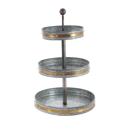 Decmode Farmhouse 24 X 15 Inch Three Tiered Galvanized Metal Tray Bronze Metal Trays Galvanized Metal Metal