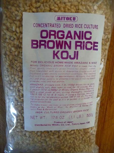 koji is a grain that has been inoculated with the aspergillus oryzae spore this is what ferments miso paste you can order it online from the company