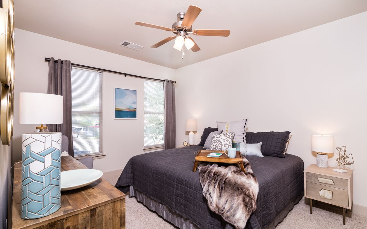 Bedrooms at AMLI at Inverness outside Denver are just as