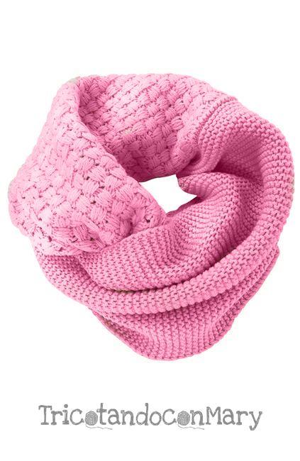 mejor servicio 30728 d6e9e Acogedora bufanda circular rosa tejida a dos agujas y en ...