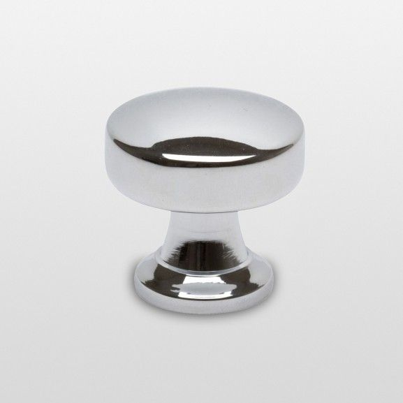 a simple contemporary knob finished in polished chrome