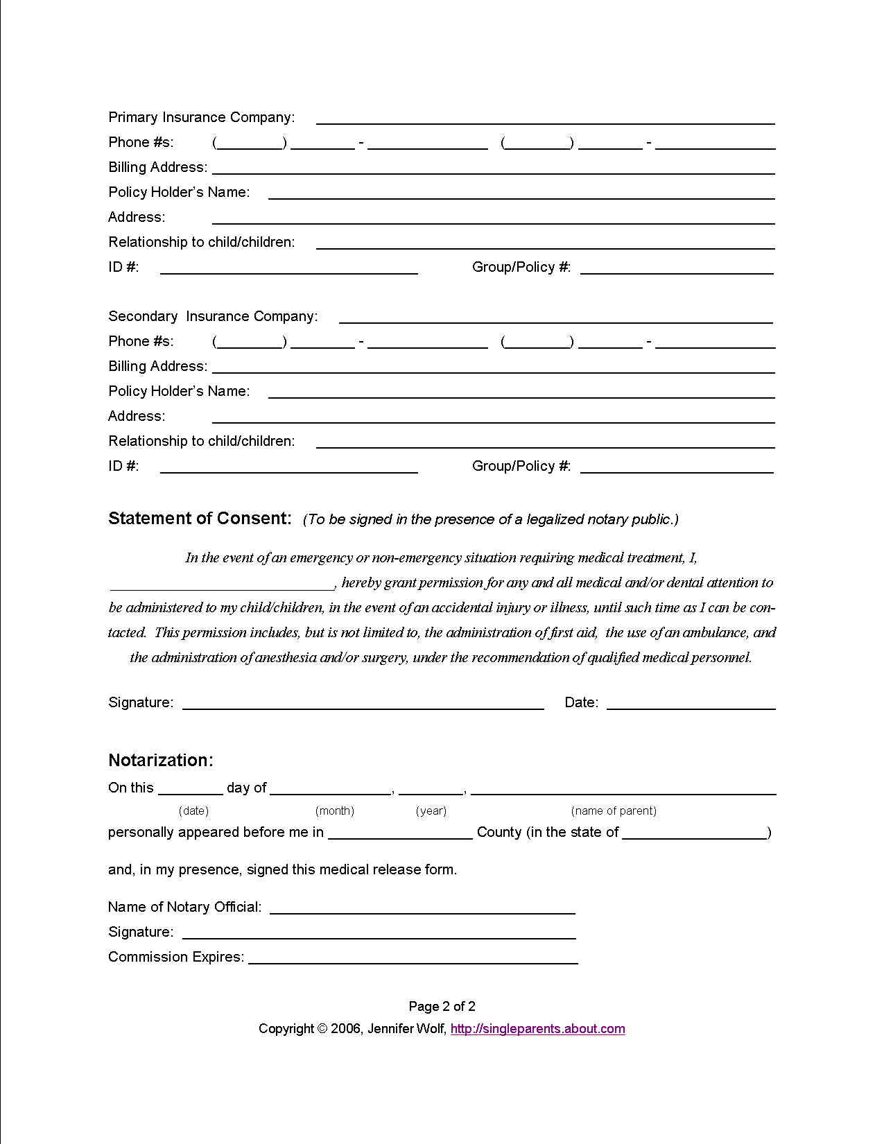 Medical Release form for Grandparents
