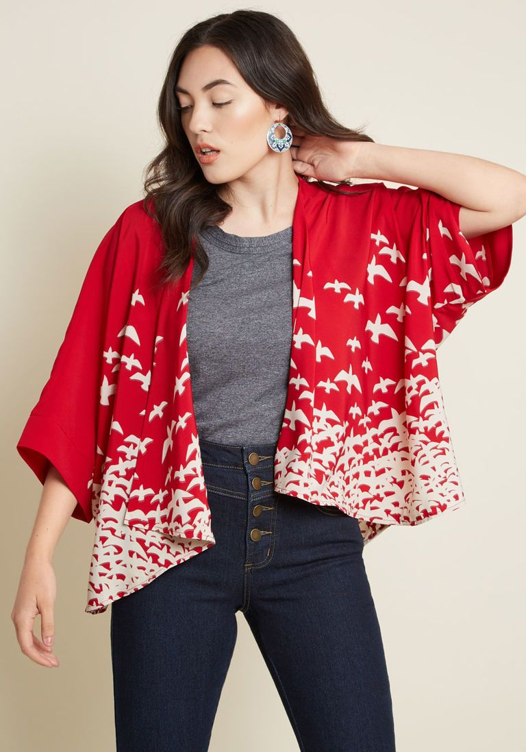 1b77eded90019 Fab Takes Flight Kimono in XS - Short Sleeves Cover-up Mid-length
