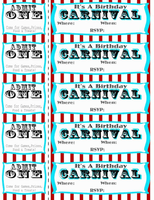 Free Printable Carnival Party Invitation