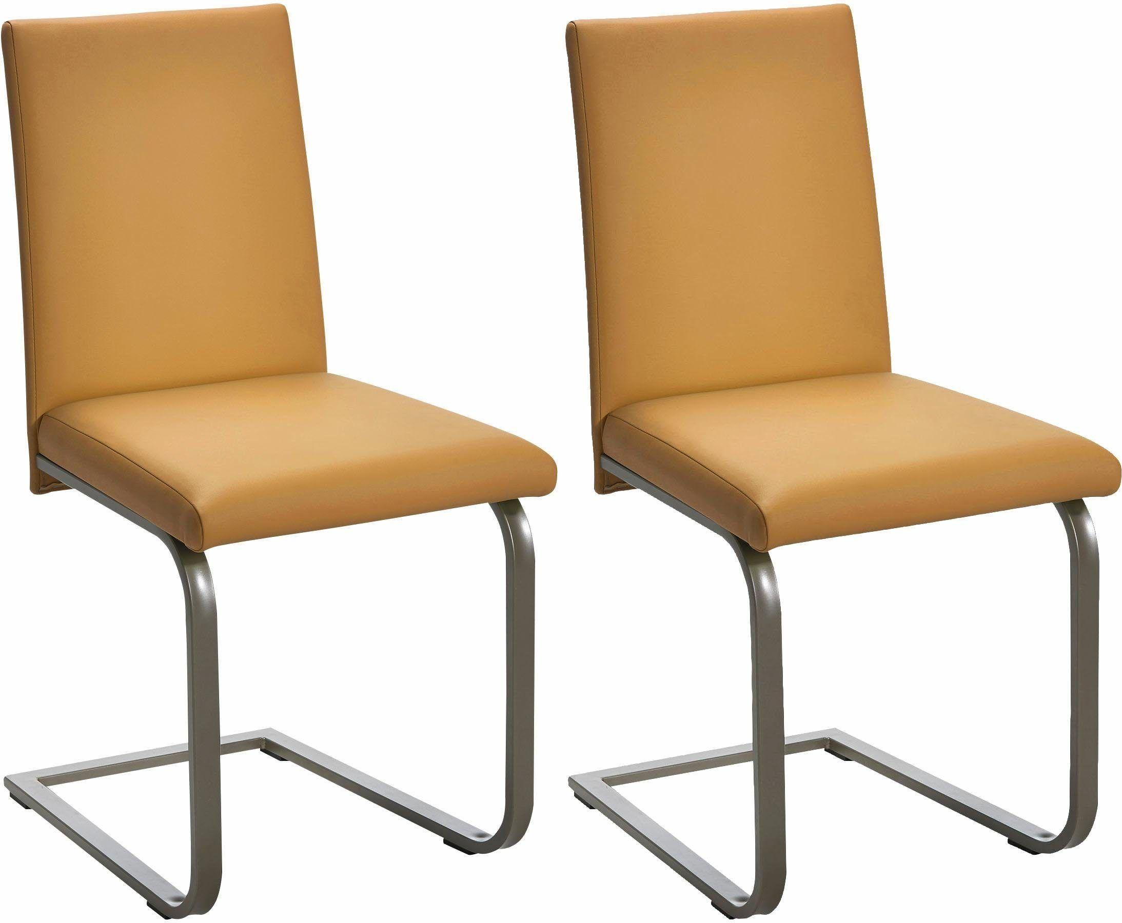 SCH–SSWENDER Stühle 2 Stück gelb pflegeleichtes Kunstleder FSC zertifiziert Jetzt