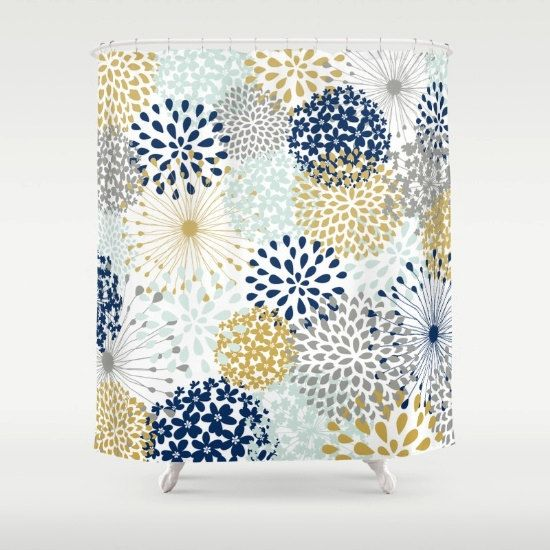 Bathroom Decor Shower Curtain Navy Grey Yellow By MeganMorrisArt
