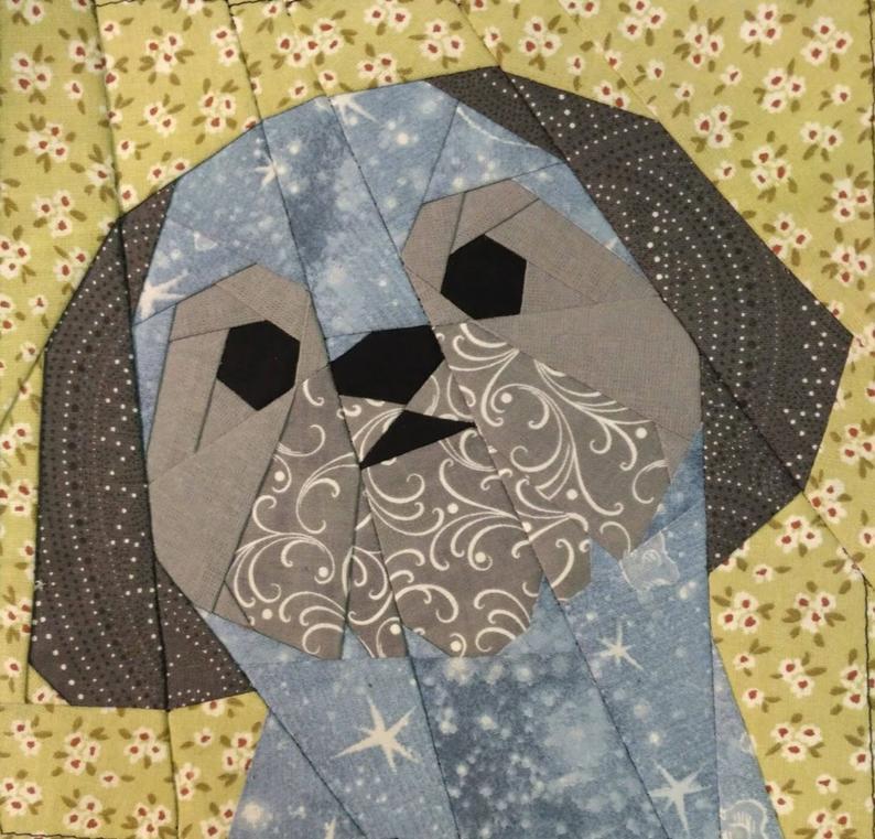 Shih Tzu boy quilt block pattern - Honden quilts ...