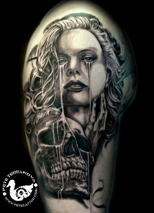 Black And Gray Realism Skull And Girl Tattoo Tattoos Cover Up Tattoos Black And Grey Tattoos