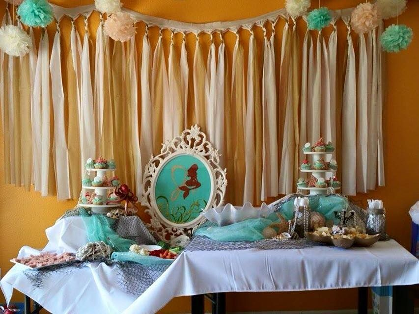 Mermaid Diy Birthday Party Decor Beach Theme Soft Mint Coral
