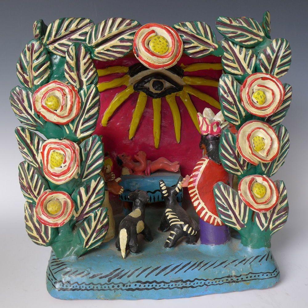 Mexican paper mache vintage judas sculpture folk art at 1stdibs - Old Vintage Mexican Ocumicho Ceramic Nativity 12 Tall X 12 Wide X 8 1