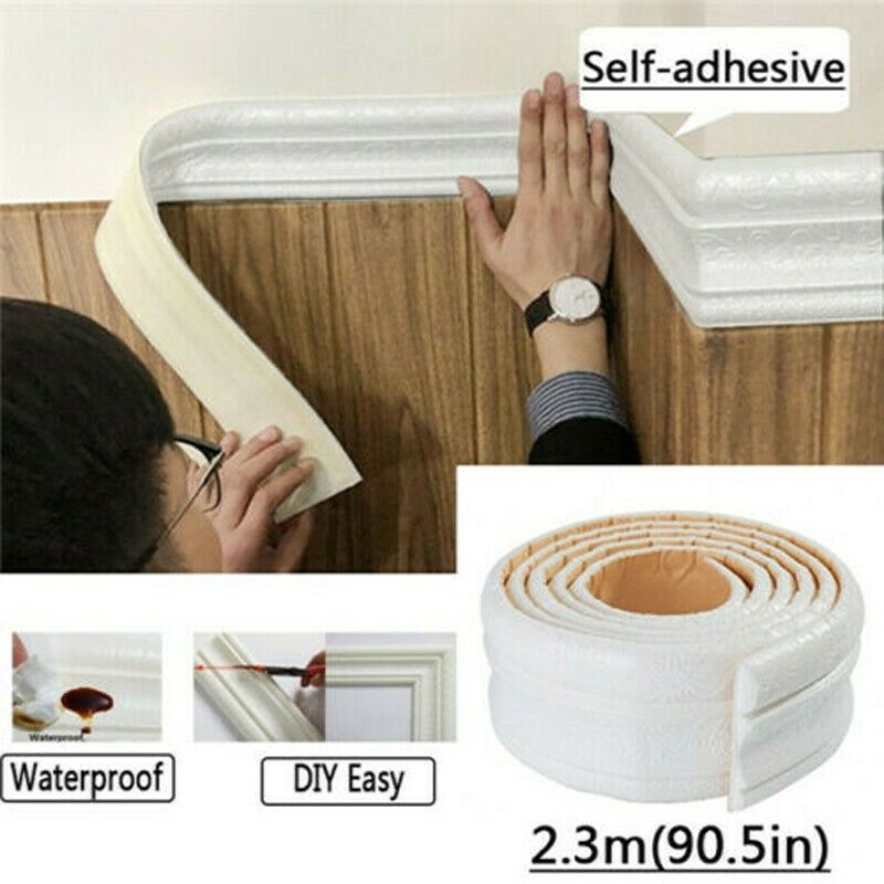 7 5ft Waterproof 3d Wall Border Wall Paper Decor Sticker Self Adhesive Kitchen Wall Stickers Home Decor Wall Molding Wall Stickers Home