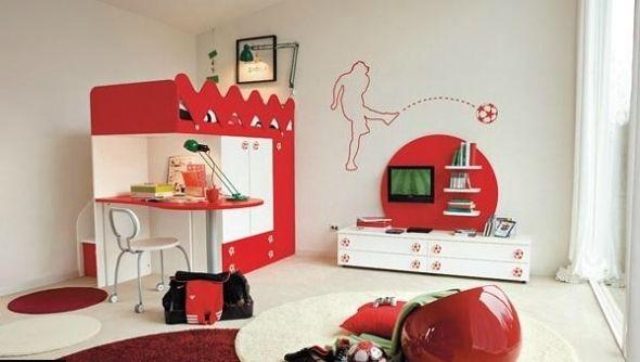 design ideen kinderzimmer fußball-rot weiß   kinderzimmer ... - Kinderzimmer Einrichten Sport Thema