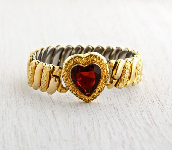 SALE - Vintage Red Stone Heart Expansion Bracelet - WWII 1940s Gold Filled Bracelet Signed Marvel Jewelry / Ruby Red Sweetheart by Maejean Vintage on Etsy $68.00
