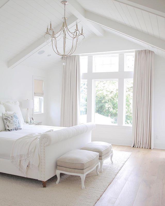 Neutral Bedroom, Tufted Headboard , Vaulted Ceiling
