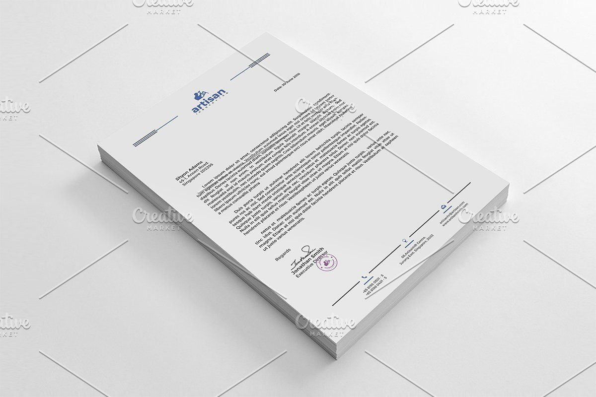 Ad: Letterhead by artisanHR on Creative Market. LETTERHEAD A simple unique lette...
