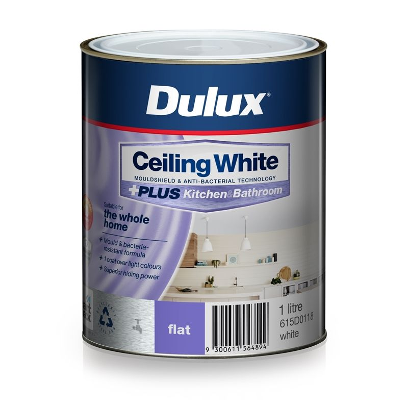 Dulux White Ceiling Plus Kitchen And Bathroom Paint 1l In 2020 Painting Bathroom Kitchen And Bathroom Paint White Ceiling