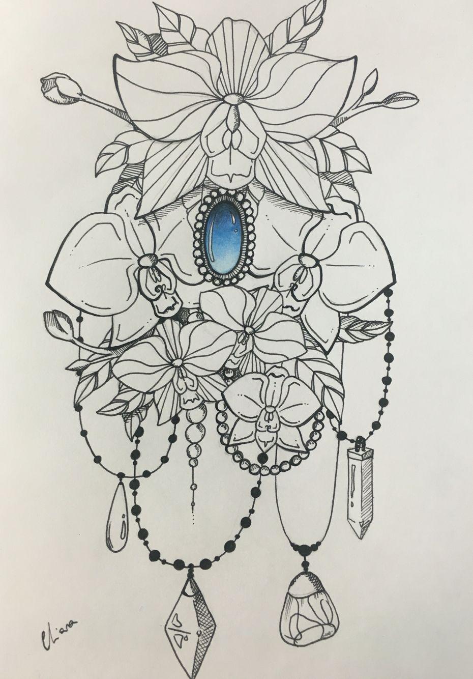 draworchideegem (With images) Tattoos, Gem tattoo