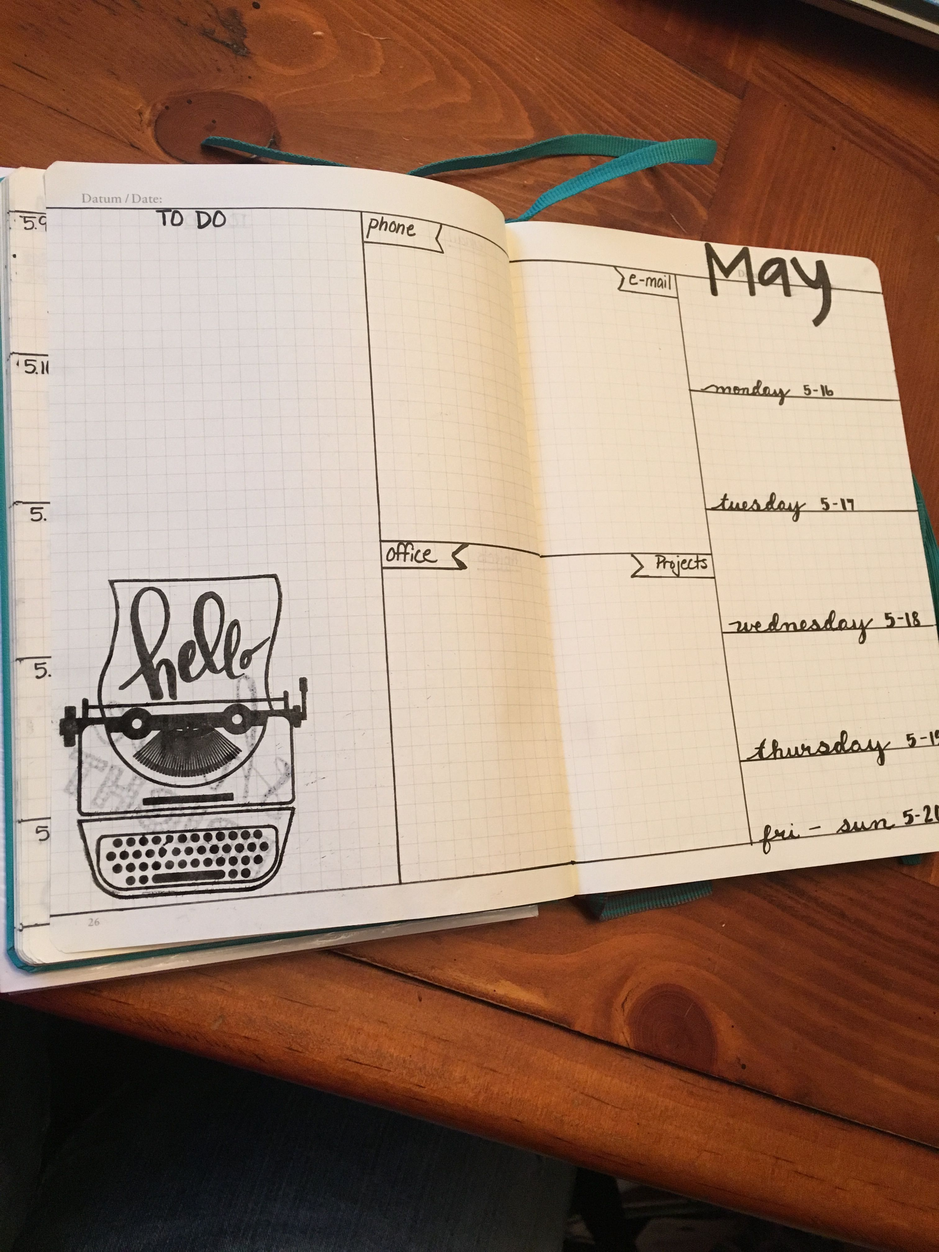 bullet journal week on one page layout bullet journal pinterest