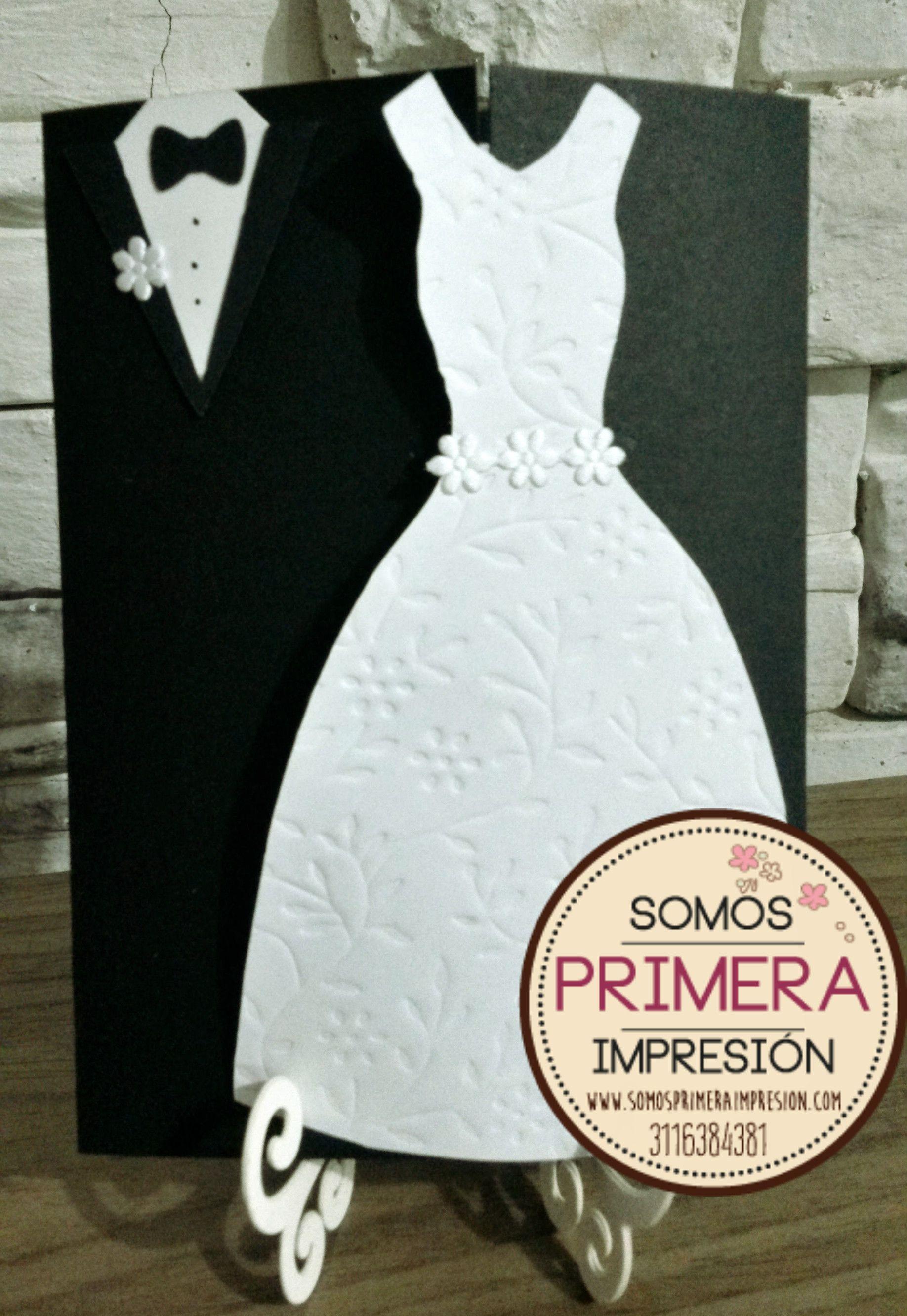 Tarjeta de invitaci n para boda trajes novios blanco y - Tarjeta de boda ...
