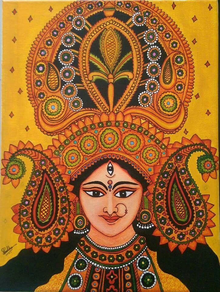 durga maa paintings indian folk art indian artwork madhubani art madhubani painting spirituality hindus mandalas drawings fabrics indian art