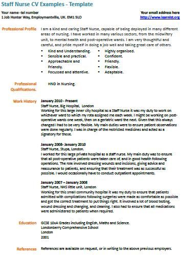 Staff Nurse CV Example | Nursing | Pinterest | Nursing cv and Cv ...