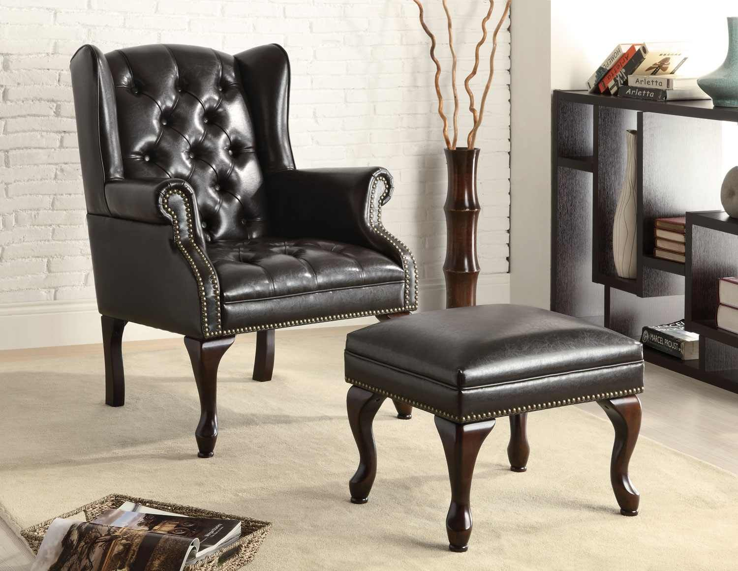 Black Vinyl Button Tufted Wing Chair #900262 Http://www.agmfurniture.