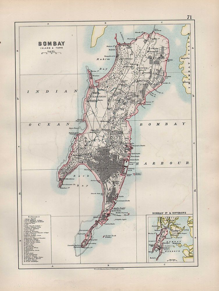 India north 1897 Old Antique Vintage Map Plan Chart India