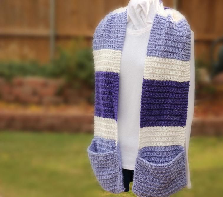 Wide Striped Knit Scarf with pockets | Craftsy | Hand knit ...