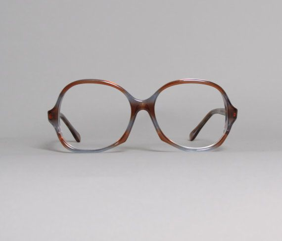 9250b73c24 70s GLASSES Frames   Transparent Brown   Blue Oversized Plastic Frames on  Etsy