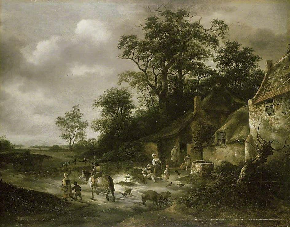 Isaac van Ostade - Landschap met huisjes en boeren