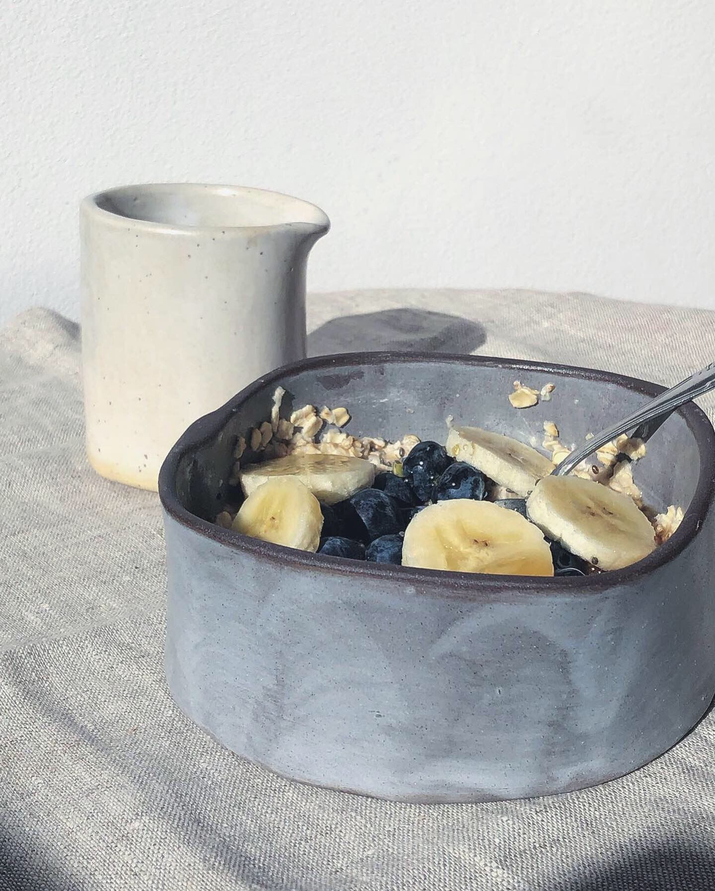 Handmade grey pottery porridge bowl