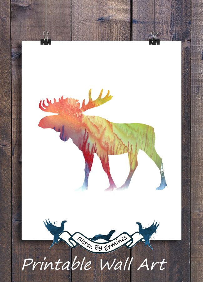 Beautiful Colorful Moose   Printable Wall Art For Your Home, Nursery, Bedroom, Living  Room. | Watercolor Art | Baby Animals | Room Decor Ideas | Unique U0026 Simple  ...