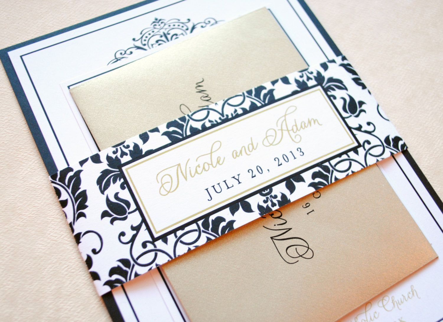 Black Gold and Champagne Wedding Invitations by WhimsyBDesigns ...