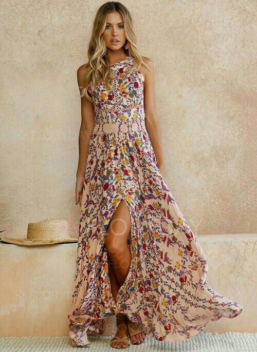 Small Flowers Print Bohemian Maxi Dress in 2020 | Kleidung ...