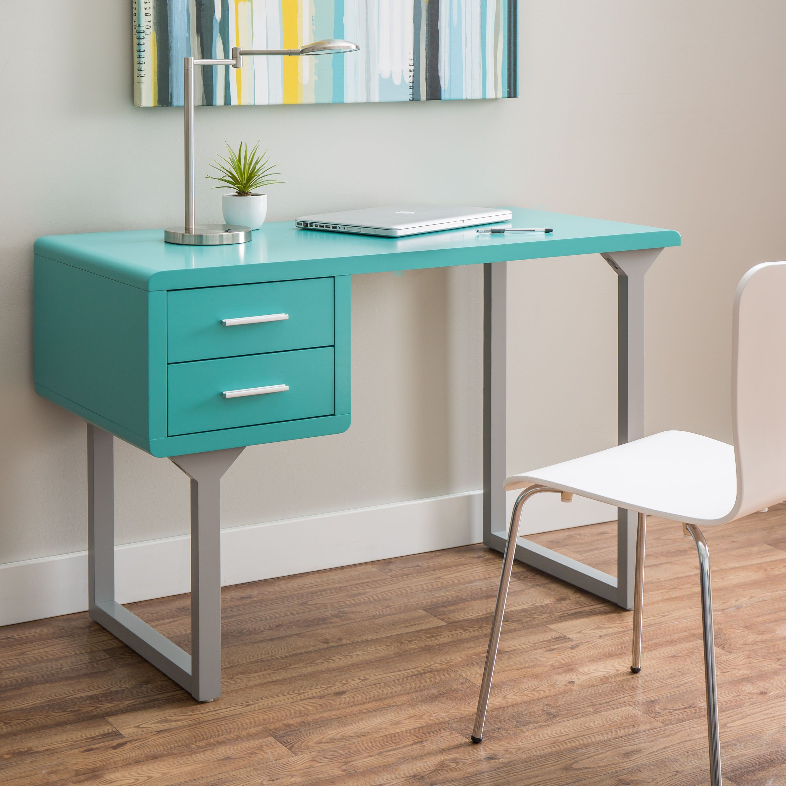 Home Office Design Stores Kids Buy Study Table Furniture F: Retro Turquoise And Grey Writing Desk By I Love Living