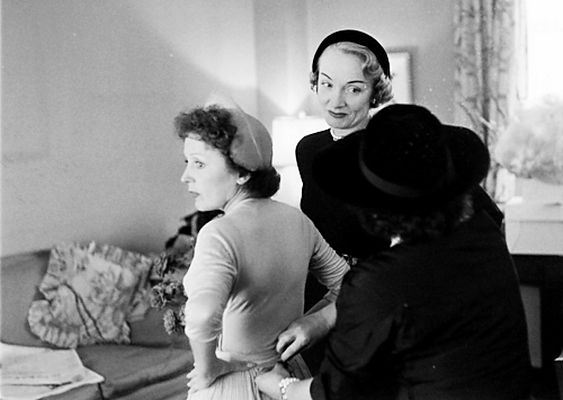 Edith Piaf On Her Wedding Day With Marlene Dietrich As Her Maid Of