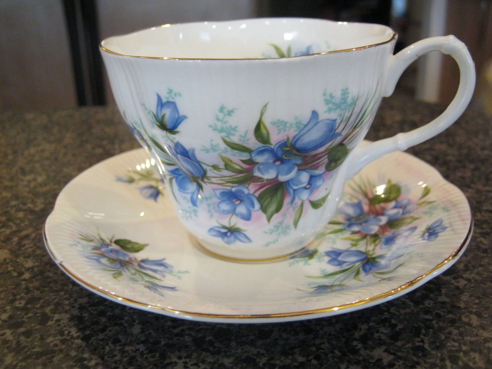 ROYAL ALBERT TEACUP CUP SAUCER BLUE FLOWERS FLORAL MORNING GLORY w