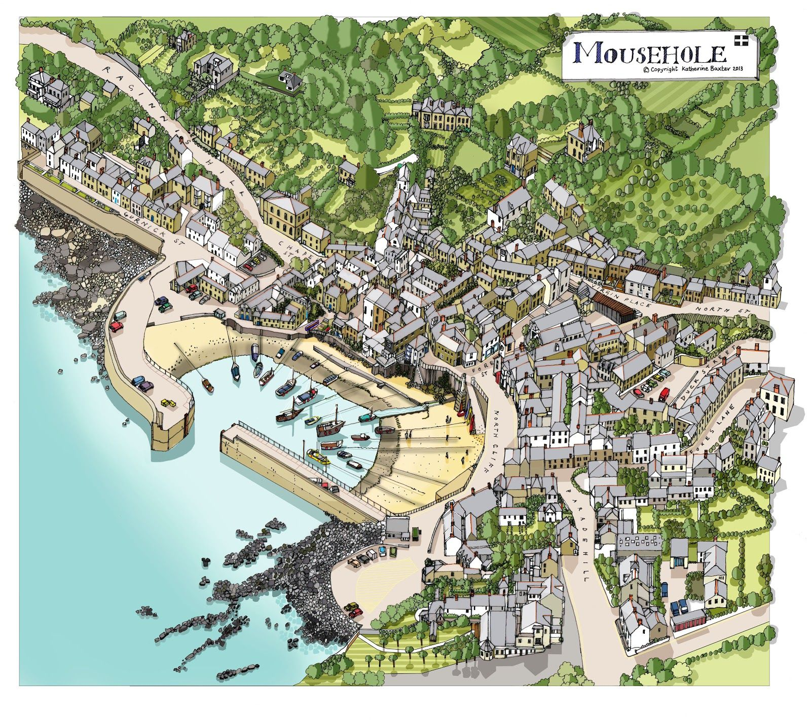 Pictorial map of Mousehole – a small Cornish town with a very