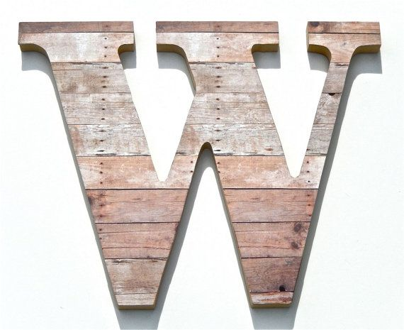 Wall Hanging Letters Chic Decor Letter W Rustic Wood Grain Initials