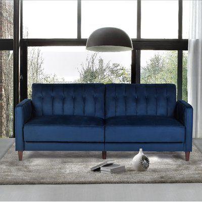 Amazing Mercer41 Cornell Sofa Bed Upholstery Color Dark Blue Creativecarmelina Interior Chair Design Creativecarmelinacom