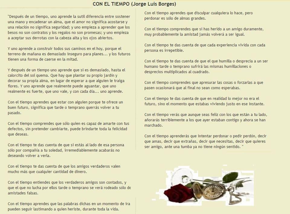 Jorge luis borges poema sobre el tiempo reflexiones - El tiempo les borges blanques ...
