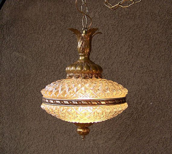 Hollywood Regency Lamp Cracked Ice Swag Light Fixture Gilt