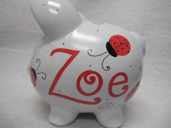 Love these piggy banks are the best alcancias pinterest items similar to personalized piggy bank swirly lady bugs on etsy negle Choice Image